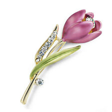 Women's Floral Fine Tulip Wedding Brooch Flower Pin Jewellery W/ White Crystals