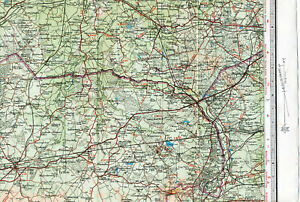 Aldershot Basingstoke Wokingham 1948 small orig map/cloth Odiham Bagshot Yateley
