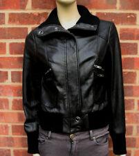 Oasis Donna Nero Giacca in Vera Pelle UK Taglia S