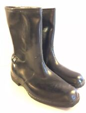 Mid Century Sz 4 Rubber Boots Ankle Lined Low Heel Made Usa Vintage Waterproof