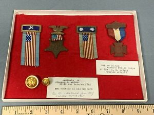Grand Army the Republic Veteran Medal Pin Badge SET Michigan O. Wright Civil War