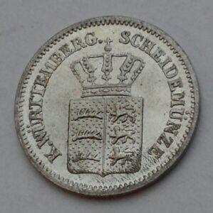 Wurttemberg 1 Kreuzer 1868. KM#612. Silver One Cent coin. Karl I.
