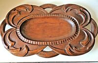 ANTIQUE WOODEN CARVED PLATTER TRAY SIGNED