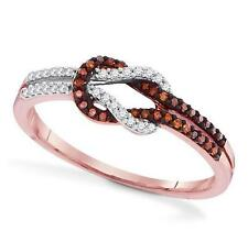 Red Diamond Love Knot Ring 10K Rose Gold red & White diamond Infinity Band .18ct