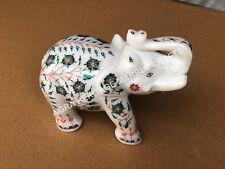 "4"" Marble Decorative Elephant Malachite Marquetry Inlay Stone Living Decor E450"