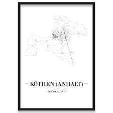 JUNIWORDS Stadtposter, Köthen (Anhalt), Weiß, Kunstdruck Plan Map