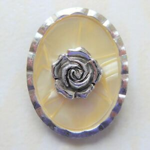 Vintage Scarf Clip Silver Rose on Cream Lucite Oval Frame signed Western Germany