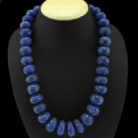 TOP FINEST 554.80 CTS NATURAL UNHEATED RICH BLUE TANZANITE 108 BEADS NECKLACE