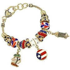 Puerto Rico Charm Bracelet Beaded GOLD BLUE RED Flag Palm Tree Theme Jewelry