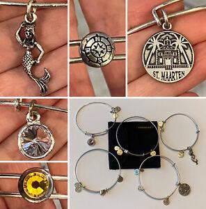 Lot of 5 Different ALEX and ANI Expandable Silver Tone Charm Bangle Bracelets