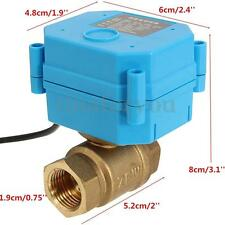 """Motorized Electrical Ball Valve DN15 G1/2"""" 12V 2 Way CR01 2 Wire Brass Copper"""