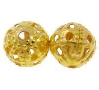 100 Metallperlen 8mm Rund Gold Filigran Perlen Zwischenteile Spacer M539