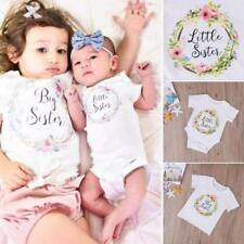 Newborn Baby Girl Kids Little Sister Romper Bodysuit Big Sister Cotton T-shirt