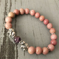 8MM Rhodochrosite Buddhist Bead Bracelet Pray Unisex Energy Chakas Handmade Mala