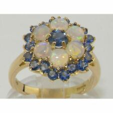 SOLID 9ct Yellow Gold Ladies Blue Sapphire & Fiery Opal Cluster Ring