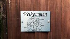 Norwegian Door Plaque Personalised Stick People Dad, Mum & 3 Girls