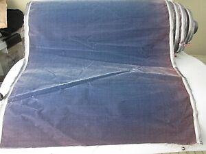 Antique velvet fabric France Victorian cotton silk Dusk Blue