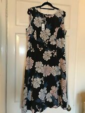 Laura Ashley Navy Floral Sleeveless Dress - Size 12