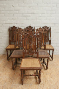 Set of 6 Carved French Oak Hunt Chairs