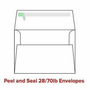 """White Peel and Seal A7 Envelopes - Fits 5"""" x 7"""" Cards - 28lb/70lb - 500 Qty"""