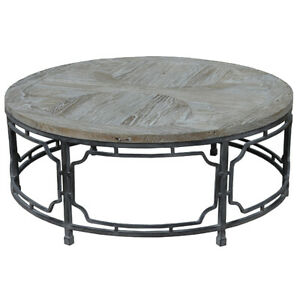 """40"""" W Coffee Table Reclaimed Elm Wood Round Top Industrial Iron Gate Base"""