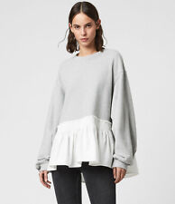All Saints Womens Nio Grey Marl Designer Crew Pullover Relax Sweatshirt Sweater