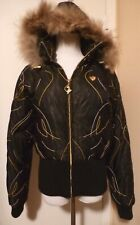 BABY PHAT Black Nylon Removable Hooded Jacket Coyote Fur Trim Size SMALL