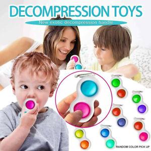 Simple Dimple Pop It Bubble Sensory Fidget Toy Stress Relief Key Chain Baby