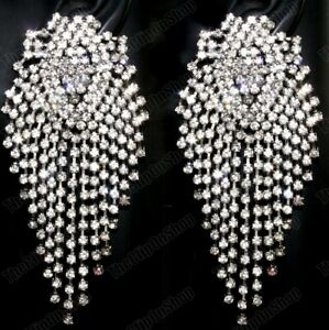 CLIP ON clip/stud LARGE SPARKLY CRYSTAL EARRINGS statement BIG silver rhinestone