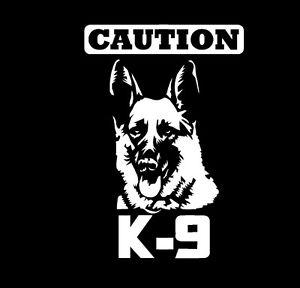 Caution K-9 Police Dog Vinyl Decal Sticker Window Glass German Shepherd