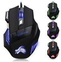 2.4GHz 5500DPI 7 Button LED Optical USB Wired Gaming Mouse Mice For Pro Gamer
