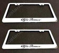 2x ALFA ROMEO STAINLESS Chrome License Plate Frame w/screw Caps