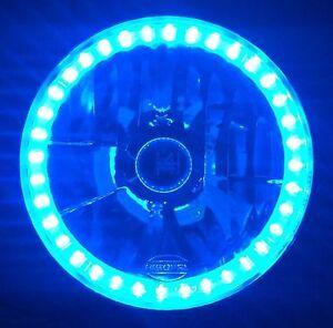 """Blue Halo H4 7"""" Round Headlamps LED Angel Eye Semi Sealed Beam Universal Crystal"""
