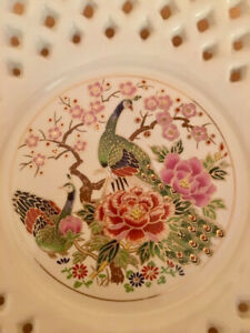 """Vintage Japanese Plate Peacock Reticulated Small 6"""" Ivory/Gold Trim"""