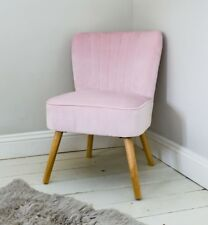 Velvet Oyster Occasional Chair Pink Fluted 1950's Bedroom Living Room Accent Sta
