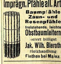 Jak. wilh. bieroth Finthen in Mainz WOOD Action Historical Advertising 1921