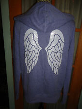 VICTORIA'S SECRET  XS or S  ANGEL WING SEQUIN BLING BLUE ZIP HOODIE JACKET NWT