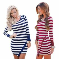 Winter Stretch Striped Dresses for Women