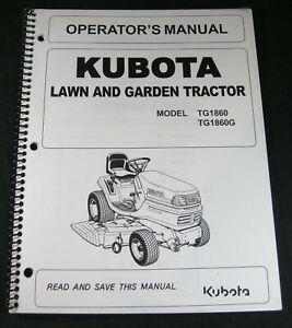 Kubota TG1860 TG1860G Lawn Garden Tractor Mower Operator Maintenance Manual OEM