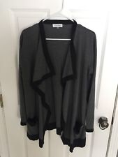 Calvin Klein Women's Gray & Black Long Sleeve Ipen Front Cardigan Size Large