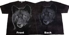 The Mountain Black Wolf Face 2 Sided T Shirt, XL, Black