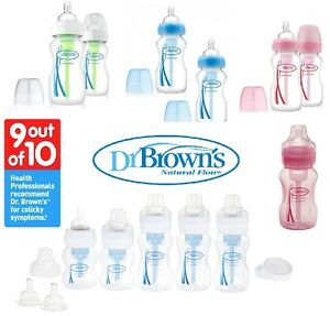 DR BROWN Natural Flow Wide Neck 150ml 270ml Baby Feeding Bottles Set (NEW OTHER)