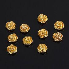 Golden Rose Shape 10 pieces Silver 3D Alloy Nail Art Slices Glitters DIY De W3G5