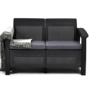 Keter Loveseat Corfu All-Weather Resin Patio Grey Cushion Charcoal