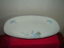 Chodziez Made in Poland Oval Platter Blue flowers pattern
