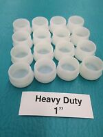 """16 Plastic White Patio Chair Table Tube Feet Inserts Cups 1"""" Glide Caps 1 inch"""