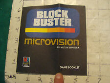 video game item: BLOCK BUSTER Microvision Milton Bradley game booklet, folded