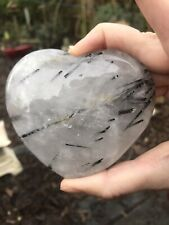 Clear Quartz Crystal Heart Large Black Tourmaline Rod AAA+ 14 236g