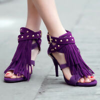 Women's Gladiator Rivet Studded High Heeled Tassel Fringe Club Wedding Sandals