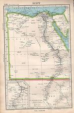 1952 mapa ~ Egipto Delta del Nilo Alejandría Sudán Jartum Sinai